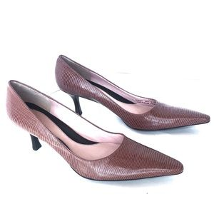 Cole Haan Pink & Brown Snake Print Low Heels